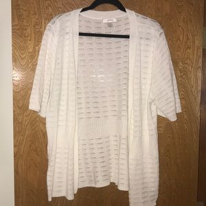 CJ Banks white open front knitted cardigan